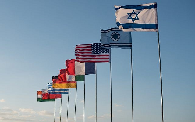 The flags of Israel, the Israeli Air Force, the United States, France, Italy, Germany, Greece, Poland and India fly in the Ovda air base as part in the international Blue Flag exercise in early November 2017. (Israel Defense Forces)