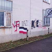 Illustrative image of neo-Nazi graffiti in Dresden, Germany. (CC BY Kalispera Dell, Wikimedia commons)