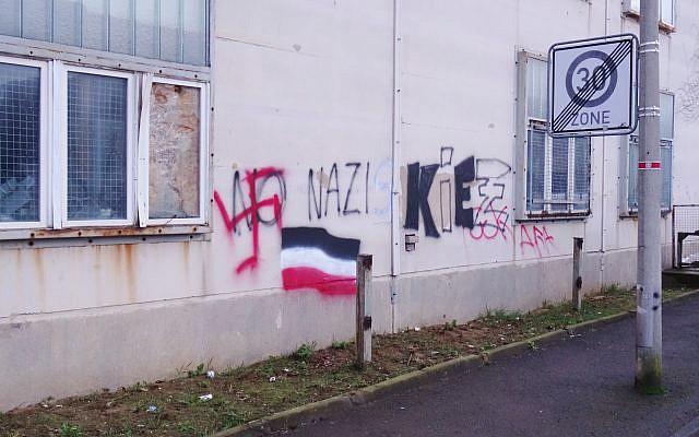 Illustrative image of neo-Nazi graffiti in Dresden, Germany. (CC BY Kalispera Dell, Wikimedia commons)