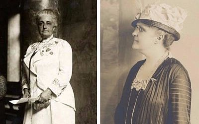 Suffragist Maud Nathan, circa 1913, and (right) sister Annie Nathan Meyer, circa 1920. (public domain)