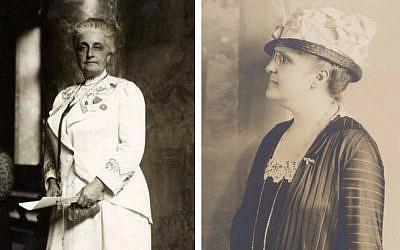 Suffragist Maud Nathan, circa 1913, and (right) sister Annie Nathan Meyer, circa 1920. (public domain)