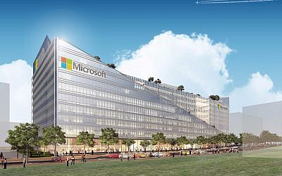 Architect illustration of the design for Microsoft's new offices in Herzliya by Yashar Architects Ltd. (Courtesy)