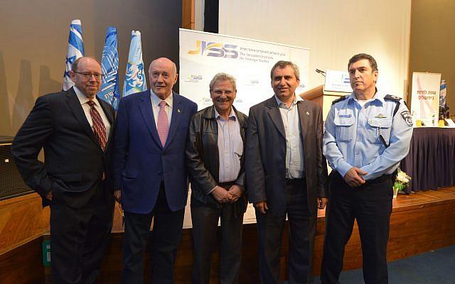 From left to right: David Weinberg, Greg Rosshandler, Efraim Inbar, Zeev Elkin, Yoram Halevy at the launching conference of the Jerusalem Institute for Strategic Studies, November 6, 2017 (courtesy)