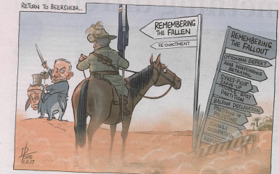 A caricature critical of memorial ceremonies held for the Battle of Beersheba in Israel, which appeared on page 19 of the Canberra Times, November 1, 2017