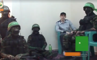 Screenshot of previously unseen footage of Gilad Shalit, the IDF soldier held in Gaza from 2006 to 2011, released by Hamas November 1, 2017. (Facebook)
