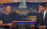 """Jon Stewart pretending to be made-up reporter Bernie Bernstein on """"The Daily Show"""" with host Trevor Noah, Nov. 16, 2017. (Screenshot from """"The Daily Show"""")"""