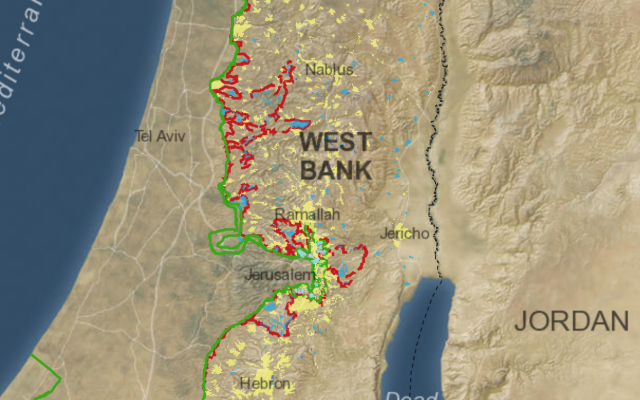Illustrative: A new interactive map developed by the Washington Institute for Near East Policy for its website Settlements and Solutions that is designed to allow users to assess the current viability of a two-state solution. (Screen Capture)