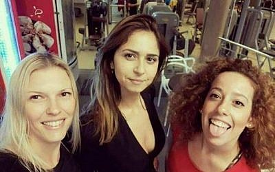 Facebook image of Shira Raban (c) with friends circulated on November 12, 2017 by people mistaking her for Shira Raban who accused Sara Netanyahu of abuse. (Facebook)