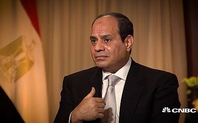 Egyptian President Abdel-Fattah el-Sissi interviewed on CNBC, November 7, 2017. (Screen capture: CNBC)