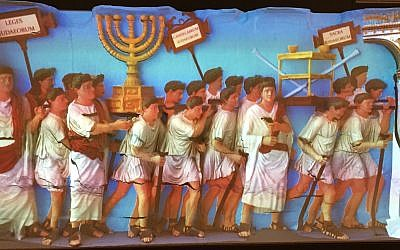 Replica of the Spoils of Jerusalem Bas-Relief from the Arch of Titus, digitally reconstructed and fully colorized based on ancient pigments found on this and other Roman sculpture; created by VIZIN: Institute for the Visualization of History and by Neathawk Designs (Courtesy of Yeshiva University Museum)
