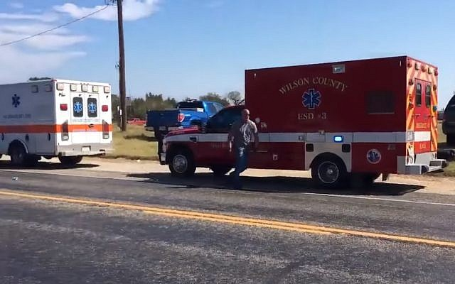 First responders at First Baptist Church in Sutherland Springs, Texas after mass shooting on November 5, 2017. (Screen capture: YouTube)