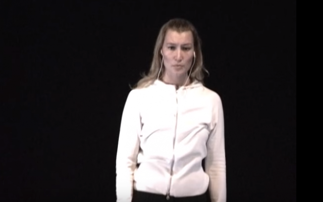 Stella Penn Pechanac, the Israeli intelligence operative who allegedly duped at least one of Harvey Weinstein's accusers, seen performing in a play in August, 2009. (screen capture: YouTube)
