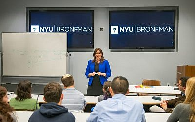 Deputy Foreign Minister Tzipi Hotovely speaking at New York University, November 7, 2017 (Aleksey Rosenfeld)