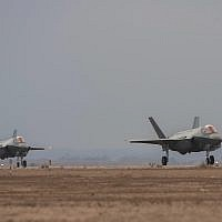Two F-35 fighter jets land in Israel on November 8, 2017 (Israel Defense Forces)