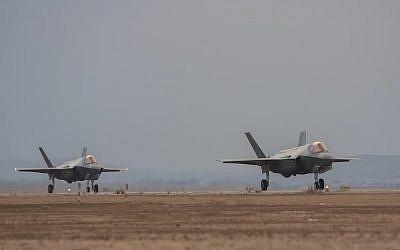 Two F-35 fighter jets land in Israel on November 8, 2017 (Israel Defense Forces)