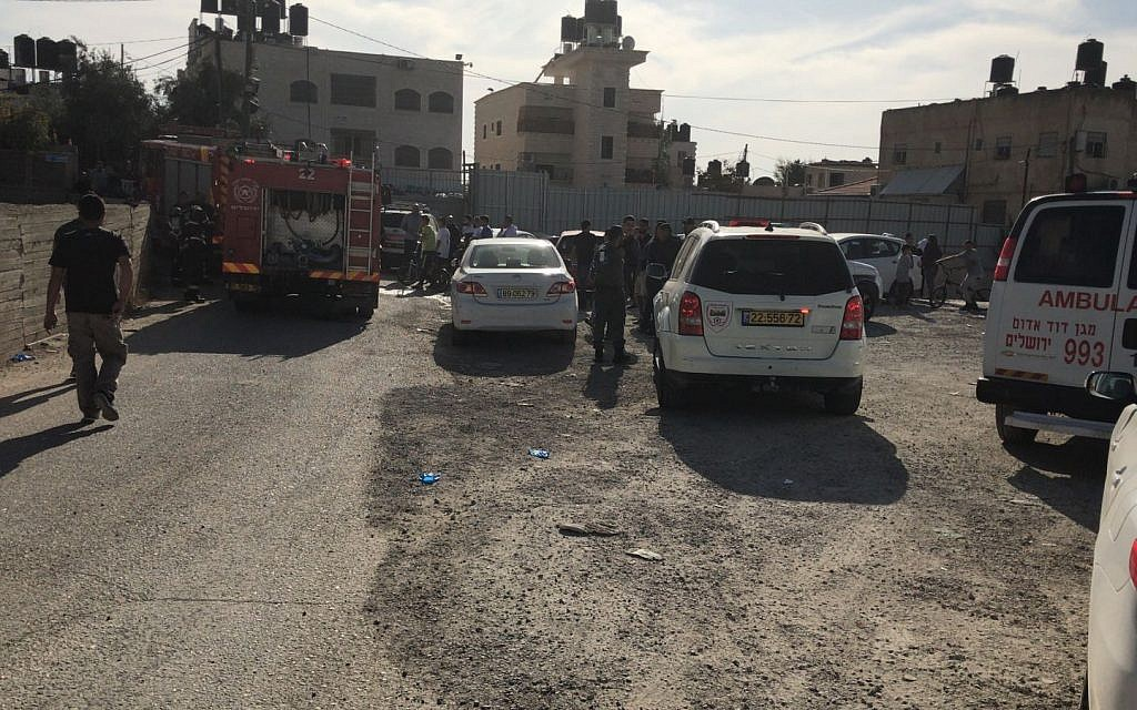 The site of an apartment fire in East Jerusalem's Beit Hanina neighborhood, November 14, 2017. (Magen David Adom)