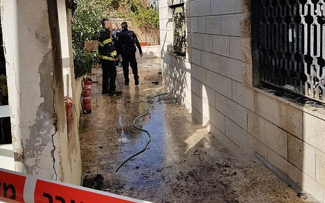 The site of an apartment fire in East Jerusalem's Beit Hanina neighborhood, November 14, 2017. (Israel Police)