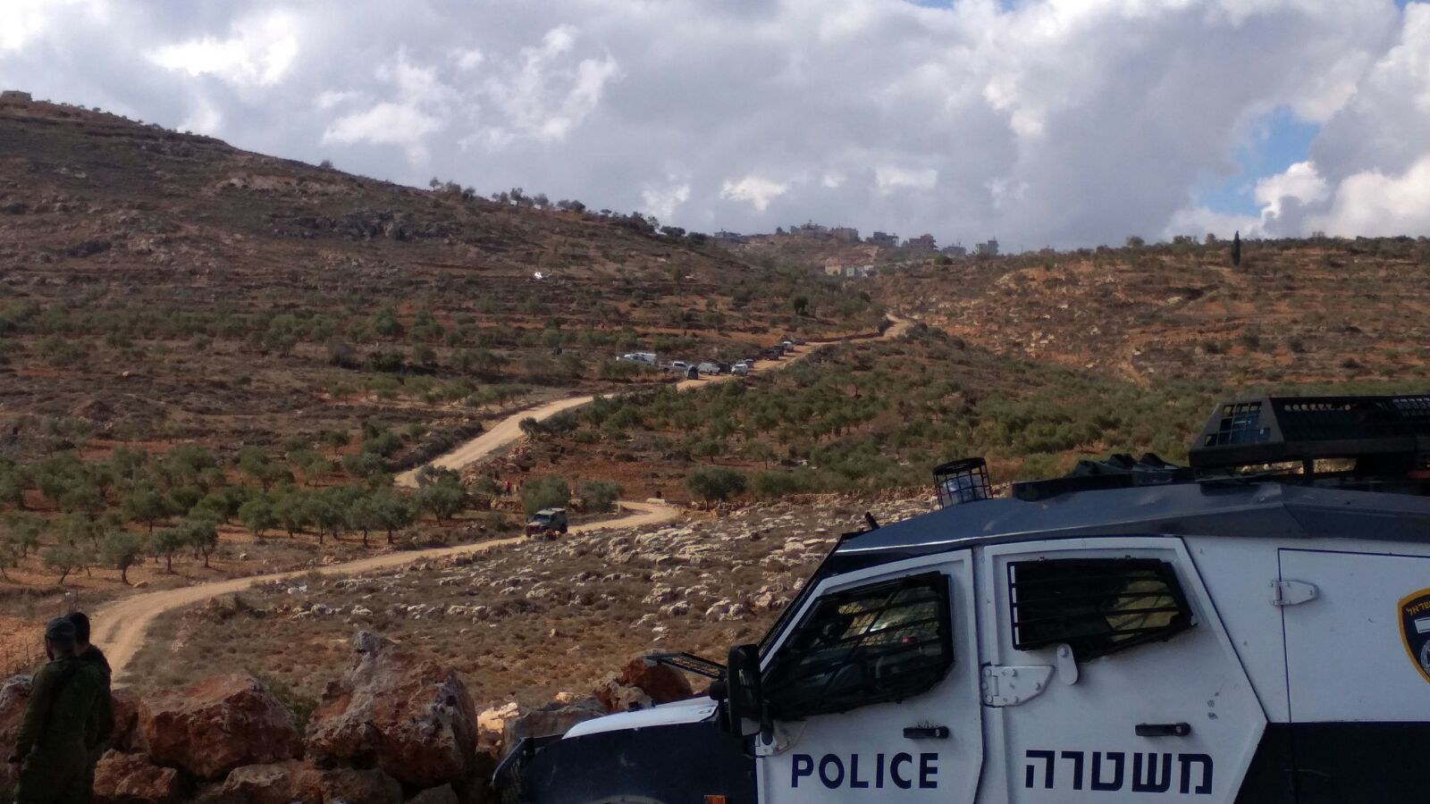 Israeli settlers and Palestinians clash in the northern West Bank