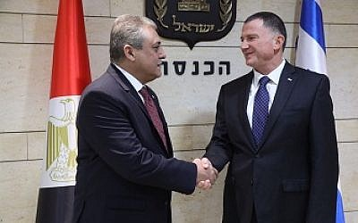 Egyptian Ambassador to Israel Hazem Khairat (L) meets with Knesset Speaker Yuli Edelstein in the Knesset on November 21, 2017 (Knesset spokesperson's office)