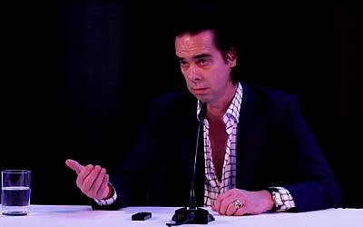 Aussie rocker Nick Cave addressed Israeli journalists during a press conference in Tel Aviv on Sunday, November 11, 2017, during which he said he was performing in Israel as a stand against BDS  (screenshot: Israel Hayom)