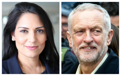 UK international development minister MP Priti Patel (Wikipedia/Russell Watkins/Department for International Development/CC BY 2.0) and Jeremy Corbyn. (Pubic domain/CC0/Garry Knight)