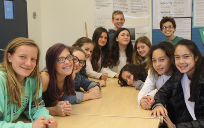 The members of the Brandeis School's 2017-18 seventh-grade class said they appreciated hearing from a range of nonprofits in their city. (Ben Sales/JTA)