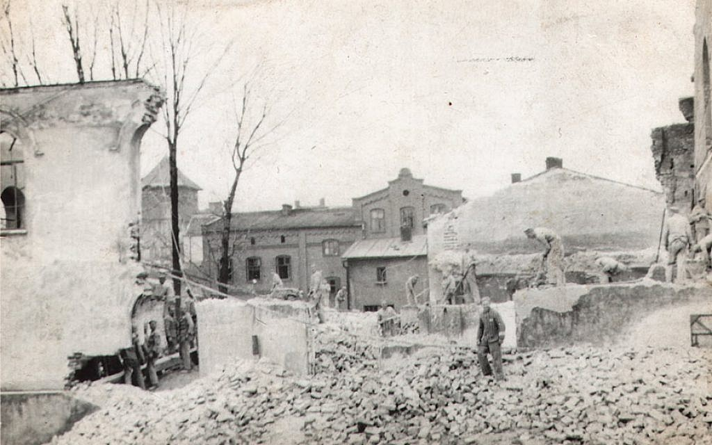 In Oswiecim, Poland, during the Nazi occupation, workers from Auschwitz dismantled the Great Synagogue that was burned down in November of 1939. (Auschwitz Jewish Center)
