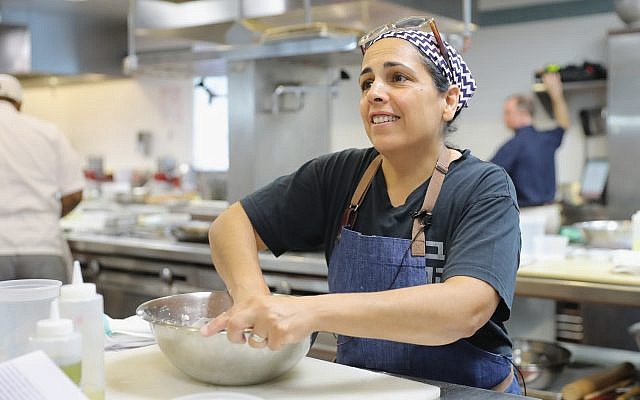 Einat Admony leading a class in New York City, April 17, 2016. (Neilson Barnard/Getty Images for the New York Culinary Experience/via JTA)
