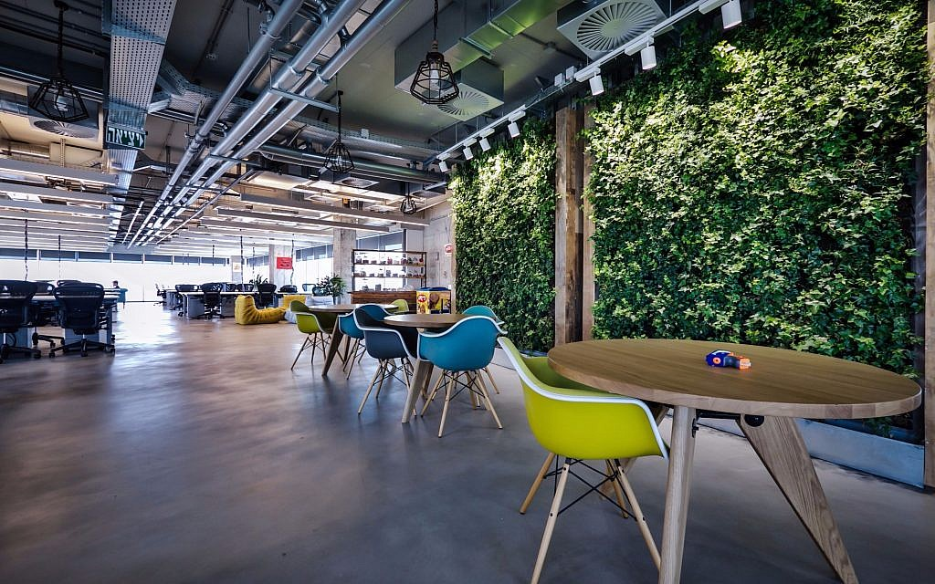 A green wall in Facebook Israel's current offices in Tel Aviv, designed by Setter Architects (Credit: Itay Sikolsky)