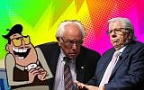"From left to right: A character from the cartoon ""Powerpuff Girls,"" Bernie Sanders and Carl Bernstein. (JTA collage/Getty Images)"