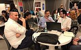 In first-ever hackathon for Haredim at Facebook offices in Tel Aviv, ultra-Orthodox teams tackle bringing tech to study of ancient Jewish texts; November 16, 2017 (Shoshanna Solomon/Times of Israel)