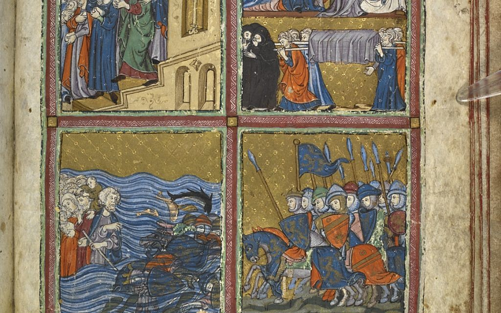 Biblical scenes in miniature paintings, illuminated in gold and striking colours. The Golden Haggadah, Catalonia, ca. 1320 CE (courtesy British Library)
