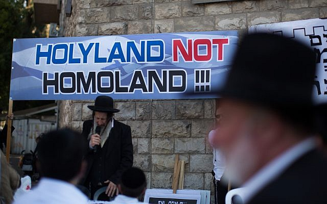 Orthodox Jews who are not conventional heterosexuals often find that the community turns a deaf ear. Here, ultra-Orthodox Jews protest in the Mea Shearim neighborhood of Jerusalem against the annual Jerusalem pride parade, July 30, 2015. (Yonatan Sindel /Flash 90)