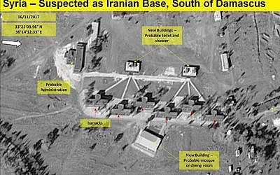 ImageSatInternational images of what is thought to be an Iranian military base in Syria, close to the Syrian-Israeli border, November 16, 2017. (Hadashot news screenshot)
