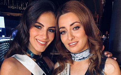 Miss Israel Adar Gandelsman (left) and Miss Iraq Sarah Idan share a moment at the 2017 Miss Universe beauty pageant