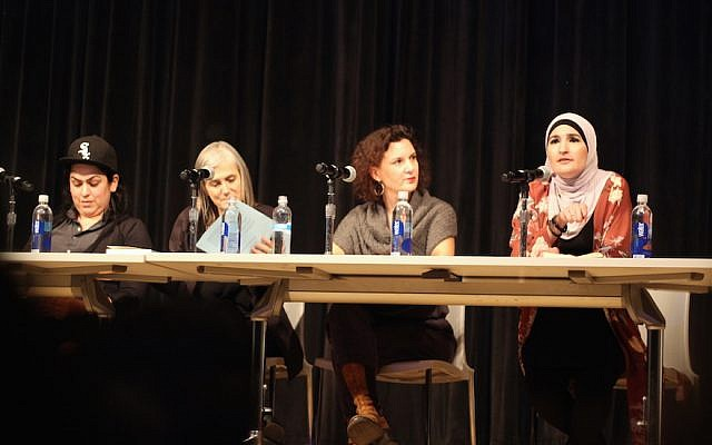 Linda Sarsour, right, speaking about anti-Semitism at a panel at the New School in New York, on November 28, 2017. Other panelists, from left to right, include Lina Morales, Amy Goodman and Rebecca Vilkomerson. (Courtesy Jewish Voice for Peace)