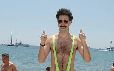 "Sacha Baron Cohen as ""Borat"" during 2006 Cannes Film Festival - Borat Arrives in Cannes at Cannes Beach in Cannes, France. (Photo by George Pimentel/WireImage)"