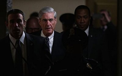Special Counsel Robert Mueller (2nd L) leaves after a closed meeting with members of the Senate Judiciary Committee June 21, 2017 at the Capitol in Washington, DC. (Alex Wong/Getty Images via JTA)