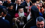 Greek Orthodox Patriarch Theophilos III arrives at the Church of the Nativity in the West Bank City of Bethlehem, built atop the site where Christians believe Jesus was born, on Christmas Eve according to the Eastern Orthodox calendar, on January 6, 2017.  (Wisam Hashlamoun/Flash90)