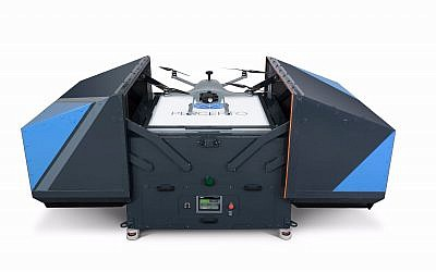 Israeli startup Percepto's Sparrow I drone system: the base station (Courtesy)