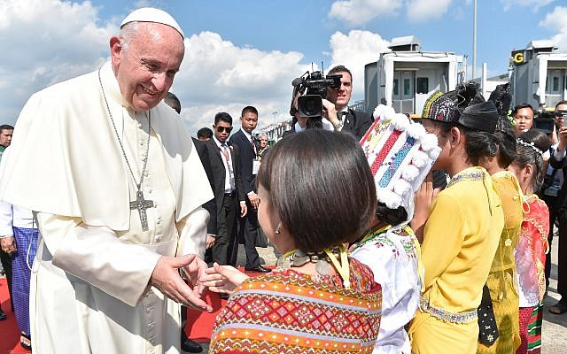 Pope Francis arrives in Yangon, Myanmar, on November 27, 2017, for the first stage of a week-long visit that will also take him to neighboring Bangladesh. (L'Osservatore Romano via AP)