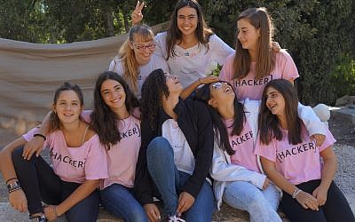 Some of QueenB's 120 middle school girls, who learn computer programming at Hebrew University in Jerusalem, pictured here in 2017. (Courtesy QueenB)