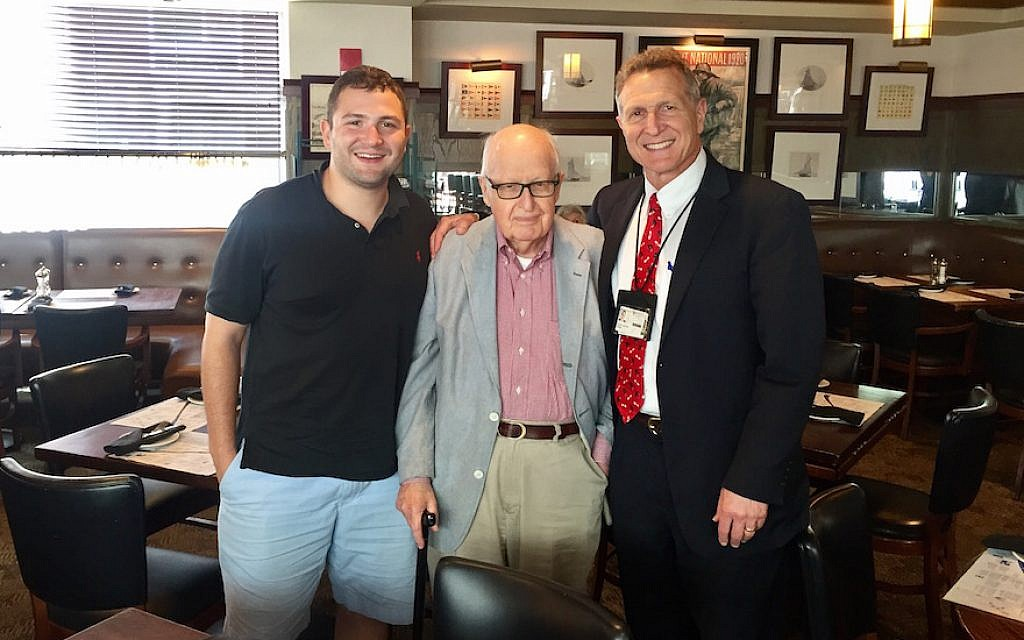 Henry Rosovsky is flanked by David Sackstein, left, and Sackstein's father, Robert. (Courtesy of David Sackstein)
