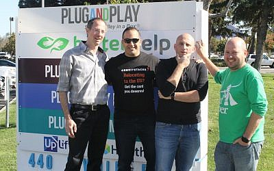 From left to right: Yuval Machlin, Kfir Eyal, Daniel Shaked and Alon Matas in front of Plug n' Play, a Silicon Valley incubator where they all work. They all talk about returning to Israel someday. (Ben Sales)