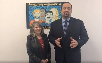 Ben Jealous, who is running for Maryland governor, with Jewish activist running mate  Susan Turnbull, November 29, 2017. (Facebook)