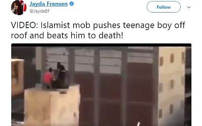 A tweet shared by a British far-right leader and shared by Donald Trump on November 29, 2017, showing a rooftop skirmish in Cairo in 2013. Screen capture: Twitter)