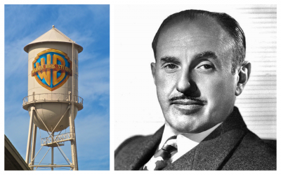Jack Warner, of the Warner Bros. and the famous Warner Bros. water tower. (Jack Warner/public domain; image of tower/ traveljunction.com)