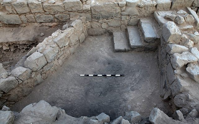 Crusader-period building's stairs, where the carved circa 1,800-year-old menorah was discovered in Tiberius. (Hebrew University)
