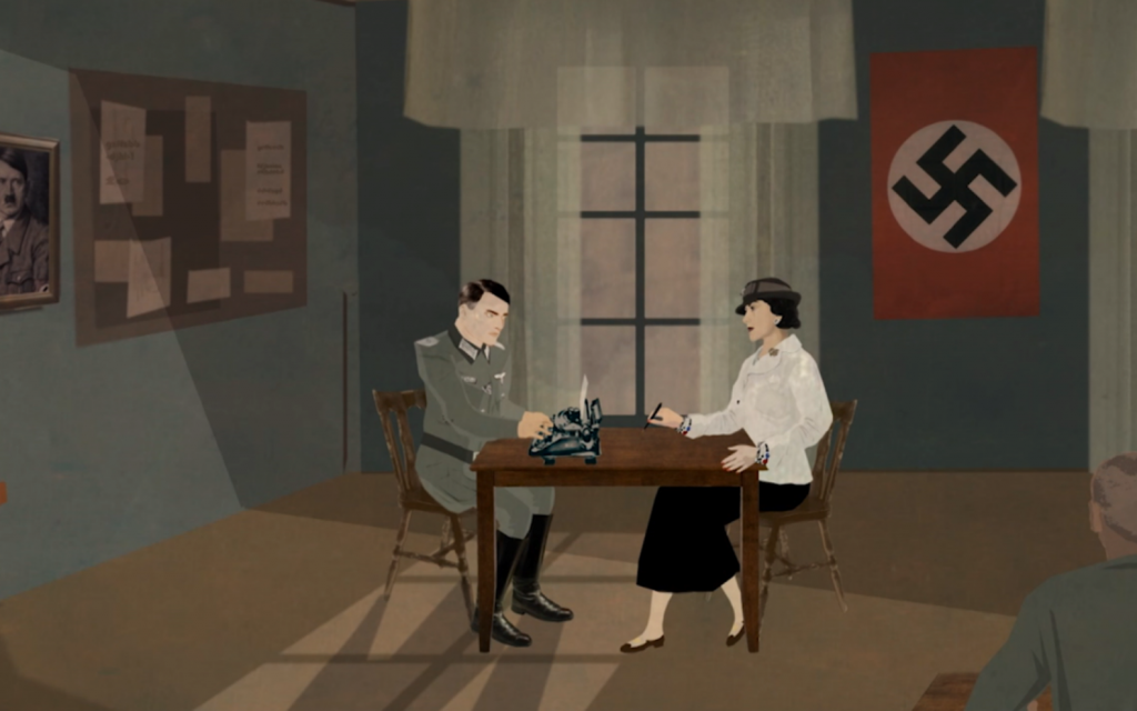Illustrated screenshot of Coco Chanel collaborating with the Nazis from Stéphane Benhamou's film 'The No. 5 War.' (Courtesy)