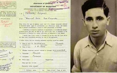 A scan of the citizenship request of 20-year-old Szymel Perski, later the Israeli statesman Shimon Peres, in the British Mandate of Palestine, stamped October 1943. (Israel State Archives)